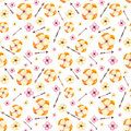 Seamless Pattern of Watercolor Yellow Flowers And Arrows