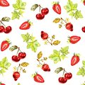 Seamless pattern with watercolour hand painted leaves, strawberries, cherries