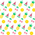 Seamless pattern with watermelon, pineapple, cherry and orange on white background. Cute background. Bright summer fruits i