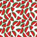 Seamless pattern with watermelon. Drawing in the style of pop art