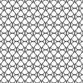 Seamless pattern of wavy lines and round shapes. Geometric strip