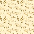 Seamless pattern with wavy music notes - vector background