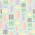 Seamless pattern with wetland plants. Reed, water lily and leaves in flat design.