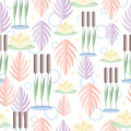 Seamless pattern with wetland plants. Reed, water lily and leaves in flat design. On white background