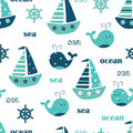 Seamless pattern with whales, sailing ships and lettering