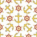 Seamless pattern. Wheel, anchor. Endless textures for your pirate party design, greeting cards, and, posters. - Vector graphics