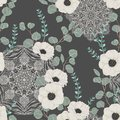 Seamless pattern with white anemone, eucalyptus and with ornate mandala. Floral background with lace ornament.