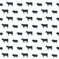 Seamless pattern on white background. Silhouettes of cows and pi