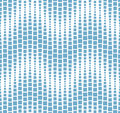 Seamless pattern on white background. Has the shape of a wave. Consists of geometric elements in blue.