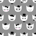 Seamless pattern with white cats with fashion glasses, mustache, bow-tie, hat, tobacco pipe, eyes, lashes, lips, crown on grey bac