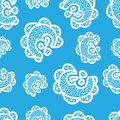 Seamless pattern.White doodle elements on blue background. Ornaments for web. Royalty Free Stock Photo