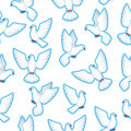 Seamless pattern with white doves. Beautiful pigeons faith and love symbol