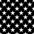 Seamless pattern of white five-pointed stars on black background. Vector illustration