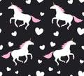 Seamless pattern of white flat unicorn on black
