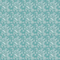 Seamless pattern with white flowers and butterflies