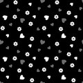Seamless pattern with white and gray hearts and flowers on a black