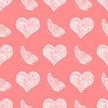 seamless pattern from white hand drawing heart and butterfly Royalty Free Stock Photo