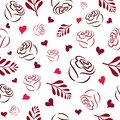 Seamless pattern with white hand pink, burgundy and red rose silhouettes, branches and hearts on a white background