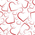 Seamless pattern with white hearts on red