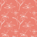 Seamless pattern with white lilies on orange background Stock Photo