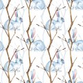 Seamless pattern with white rabbits and dry branches