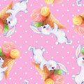 Seamless pattern with white rabbits 5