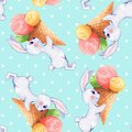 Seamless pattern with white rabbits 3
