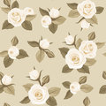 Seamless pattern with white roses on beige vintage rosebuds and leaves a background Royalty Free Stock Image