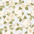 Seamless pattern with white roses on blue vintage rosebuds and leaves a background Royalty Free Stock Photo