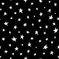 Seamless pattern with white shabby stars on black background.