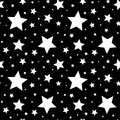Seamless pattern with white stars on black. Vector illustration. Royalty Free Stock Photo