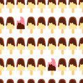 Seamless pattern with whole and bitten banana popsicle. Chocolate and raspberry icing.