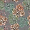 Seamless pattern of beige and green flowers of peonies on a deep gray background. Floral background. Watercolor
