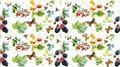 Seamless pattern with wild berries and insects. Hand painted watercolor illustration.