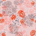 Seamless pattern of red, pink, beige flowers of peonies on a light pink background. Floral background. Watercolor