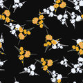 Seamless pattern of wild small white and yellow flowers and bouquets on the black background. Watercolor.