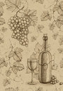 Seamless pattern wine bottle and grape with pencil drawing of Royalty Free Stock Photography