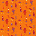 Seamless pattern with wintage spacemen and rockets vector illustration Stock Photography