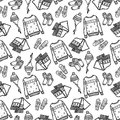 Seamless pattern of winter clothes with ornament. Hand drawn style, black contour