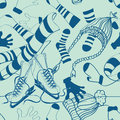 Seamless pattern of winter clothes and skates doodle Stock Images