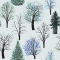 Seamless pattern with winter Deciduous coniferous trees set. Christmas trees