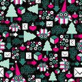 Seamless pattern with winter owl vector holiday texture Stock Images