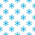 Seamless pattern of winter snowflakes, vector background. Repeated texture, surface, wrapping paper. Cute blue snow flakes for