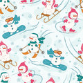 Seamless pattern with winter sport snowman
