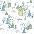 Seamless pattern of a winter town and car. House,park,tree. Royalty Free Stock Photo