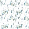 Seamless pattern of a winter town and road. House,park,tree.