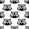 Seamless pattern of wise owl heads black and white with big eyes looking directly at the viewer vector illustration Stock Photo