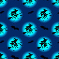 Seamless pattern witch silhouette hat flying on broom. Vector halloween decoration, walpurgis night invitation card, wrapping
