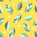 Seamless pattern witj citrus leaf and seed. Yellow background