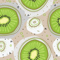 Seamless pattern witn kiwi fruit, dots and circles. Hand drawn style for wrapping paper, banners, textile.